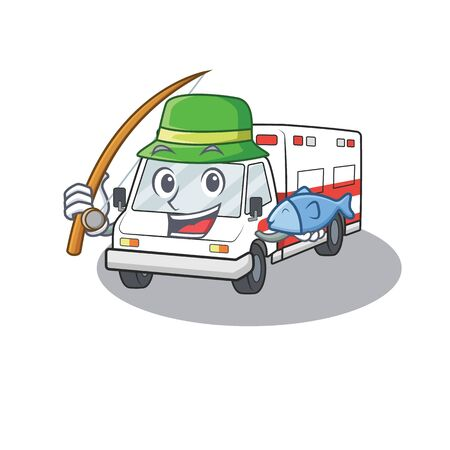 A Picture of happy Fishing ambulance design. Vector illustration