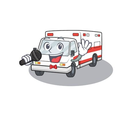 Happy ambulance singing on a in . Vector illustration