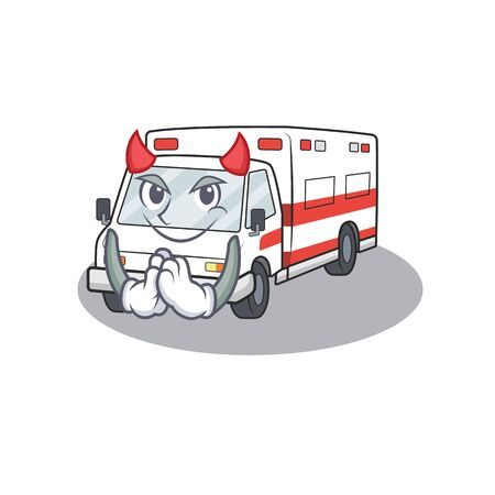 Devil ambulance Cartoon in the character design. Vector illustration