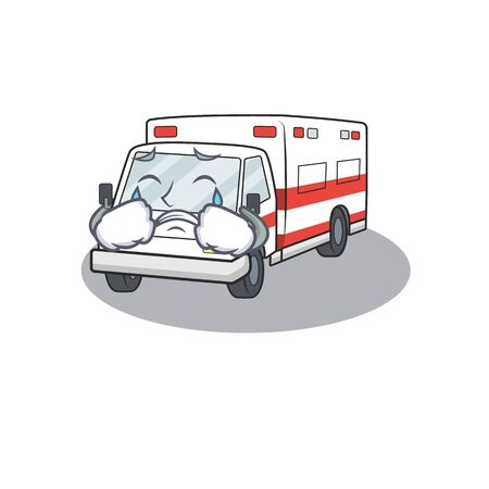 Sad of ambulance cartoon with mascot style. Vector illustration Иллюстрация