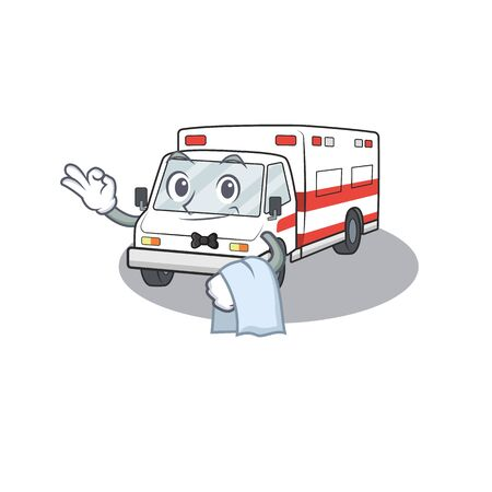 Friendly ambulance Character stand as a Waiter character. Vector illustration