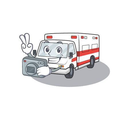 Cool Photographer ambulance character with a camera. Vector illustration