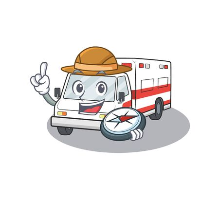 Ambulance stylized Explorer the having a compass. Vector illustration