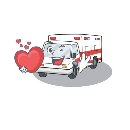 Funny Face ambulance cartoon character holding a heart. Vector illustration