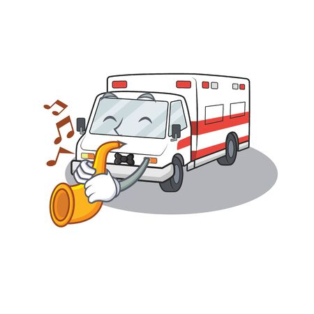 cartoon character style of ambulance performance with trumpet. Vector illustration Иллюстрация