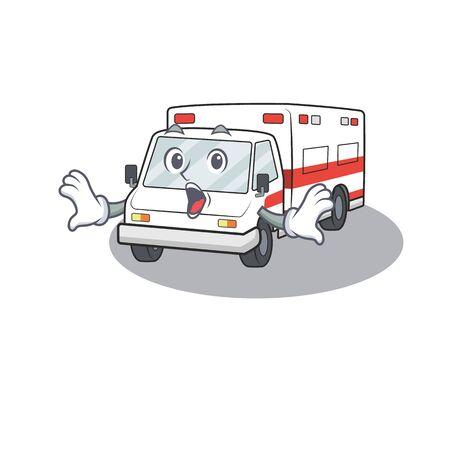 Ambulance cartoon character design on a surprised gesture. Vector illustration