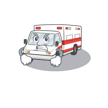 Ambulance cartoon character design having angry face. Vector illustration Иллюстрация