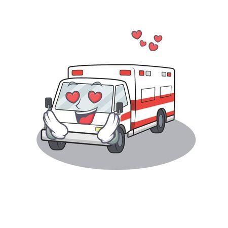 falling in love cute ambulance cartoon character design. Vector illustration