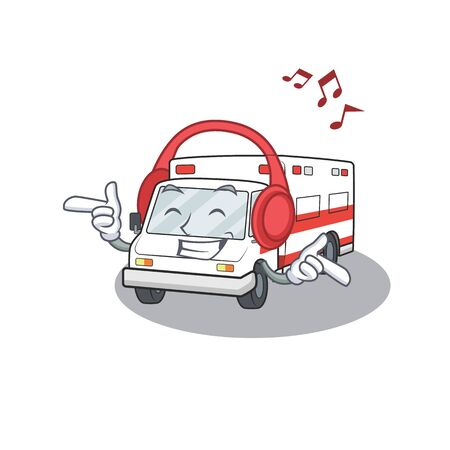 Listening music ambulance mascot cartoon character design. Vector illustration