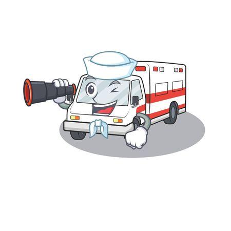 Ambulance cartoon happy Sailor style with binocular. Vector illustration Illustration