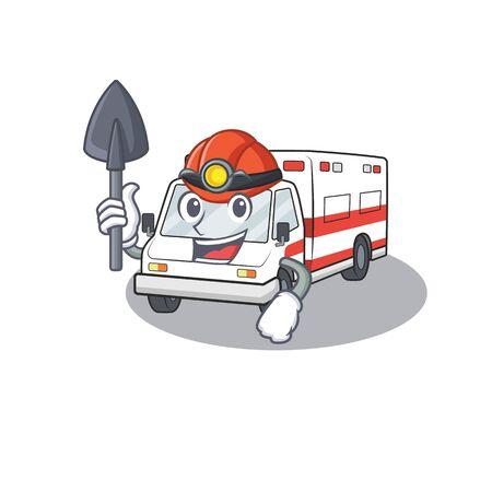 Cool clever Miner ambulance cartoon character design. Vector illustration