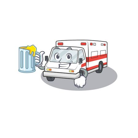 Happy ambulance mascot design with a big glass. Vector illustration Иллюстрация