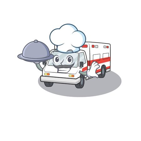 cartoon design of ambulance as a Chef having food on tray. Vector illustration Иллюстрация