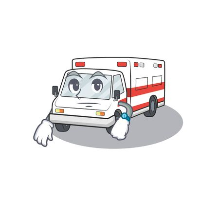 cartoon character design of ambulance on a waiting gesture. Vector illustration
