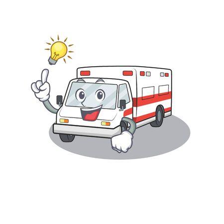 Have an idea gesture of ambulance cartoon character design. Vector illustration