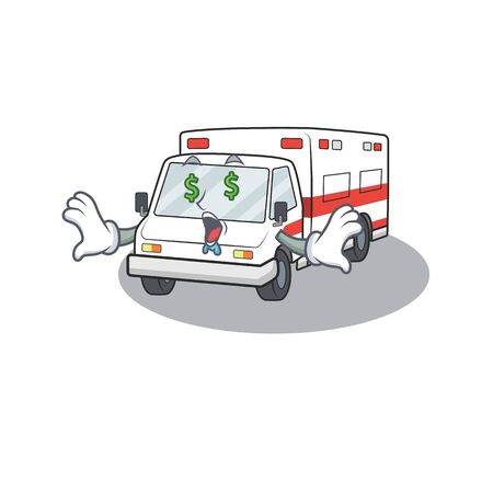 Happy rich ambulance with Money eye cartoon character style. Vector illustration