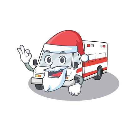 A picture of Santa ambulance mascot picture style with ok finger. Vector illustration