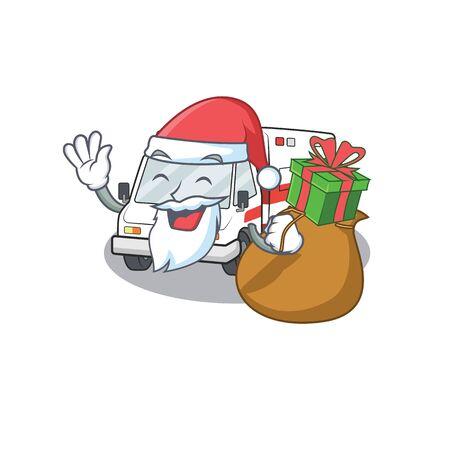Santa ambulance Cartoon character design having box of gift. Vector illustration
