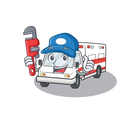 Cool Plumber ambulance on mascot picture style. Vector illustration