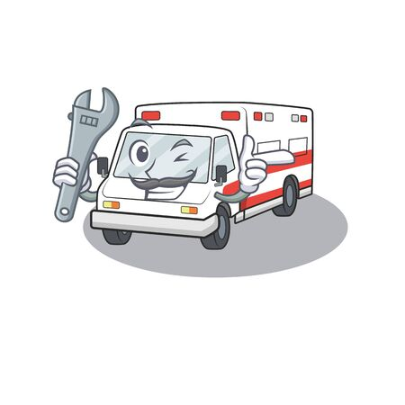 Smart Mechanic ambulance in cartoon character design. Vector illustration Иллюстрация