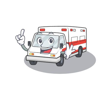 One Finger ambulance in mascot cartoon character style. Vector illustration