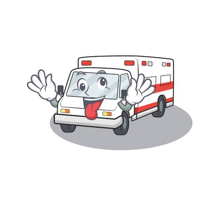 Ambulance Cartoon character style with a crazy face. Vector illustration