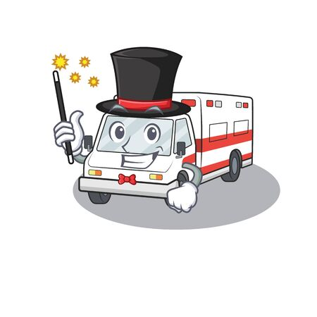 A picture of ambulance performance as a Magician. Vector illustration