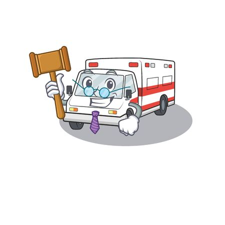 Smart Judge ambulance in mascot cartoon character style. Vector illustration