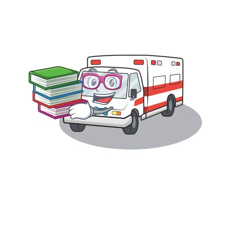 Cool and clever Student ambulance mascot cartoon with book. Vector illustration