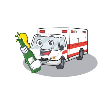 mascot cartoon design of ambulance with bottle of beer. Vector illustration Иллюстрация