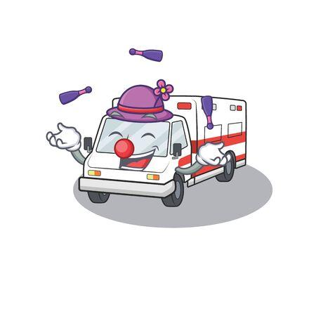 Smart ambulance cartoon character design playing Juggling. Vector illustration