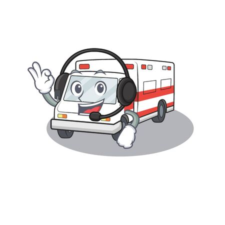 Smiley ambulance cartoon character design wearing headphone. Vector illustration