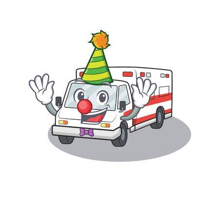 Funny Clown ambulance cartoon character mascot design. Vector illustration