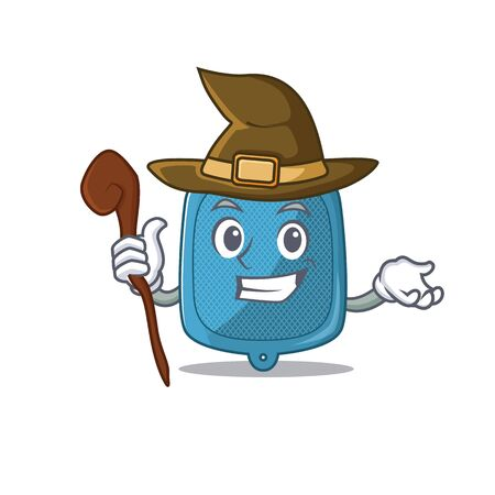 cartoon mascot style of hot water bag dressed as a witch. Vector illustration Vektorové ilustrace