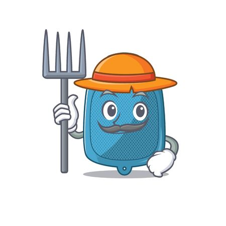 Cheerfully Farmer hot water bag cartoon picture with hat and tools. Vector illustration