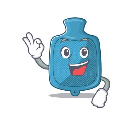 A picture of hot water bag making an Okay gesture. Vector illustration