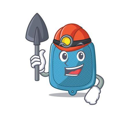 Cool clever Miner hot water bag cartoon character design. Vector illustration