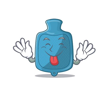 Cute hot water bag cartoon mascot style with Tongue out. Vector illustration Vektorové ilustrace