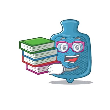 Cool and clever Student hot water bag mascot cartoon with book. Vector illustration