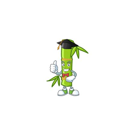 happy and proud of bamboo stick wearing a black Graduation hat. Vector illustration Illustration