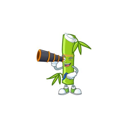 Bamboo stick cartoon happy Sailor style with binocular. Vector illustration Illustration