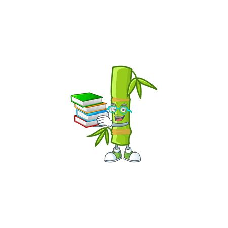 Cool and clever Student bamboo stick mascot cartoon with book Illustration