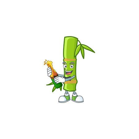 mascot cartoon design of bamboo stick with bottle of beer Illustration