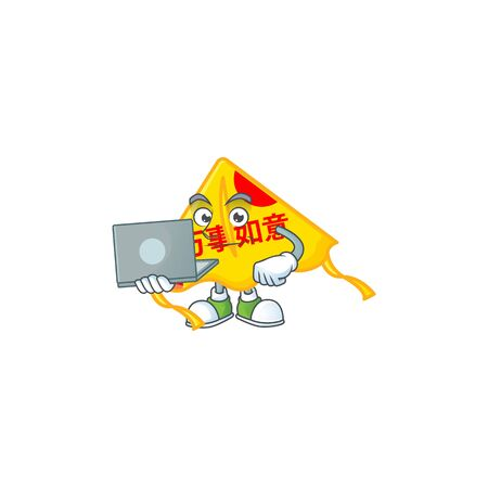 A clever chinese gold kite mascot character working with laptop. Vector illustration
