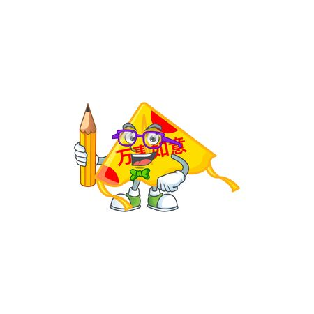 A picture of Student chinese gold kite character holding pencil. Vector illustration Çizim