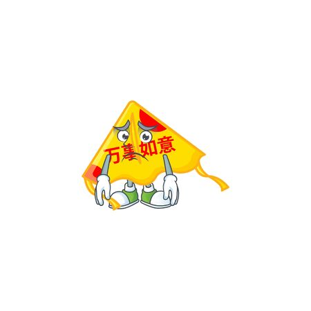 A picture of chinese gold kite showing afraid look face. Vector illustration