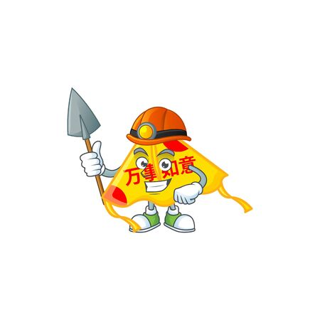 Cool clever Miner chinese gold kite cartoon character design. Vector illustration Çizim