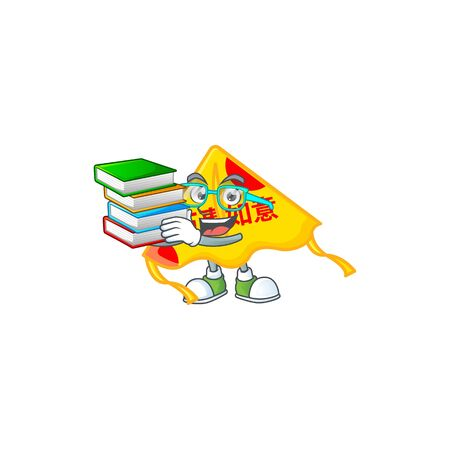 Cool and clever Student chinese gold kite mascot cartoon with book. Vector illustration Çizim