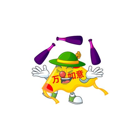 Smart chinese gold kite cartoon character design playing Juggling. Vector illustration