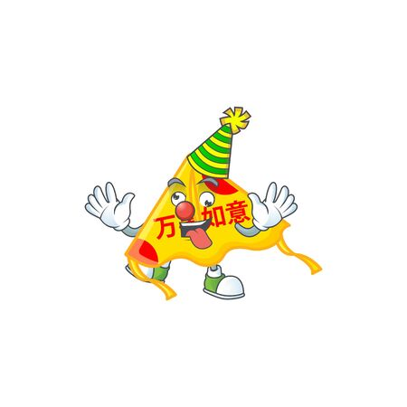 Funny Clown chinese gold kite cartoon character mascot design. Vector illustration